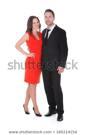mujer · rubia · vestido · rojo · empate · sexy - foto stock © feedough