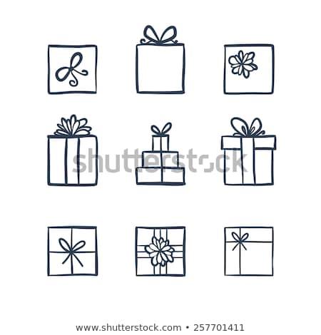 Doodle geschenkdoos icon Blauw pen Stockfoto © pakete