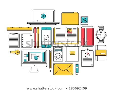 werkplek · zwart · wit · desktop · business · boek · koffie - stockfoto © ikopylov