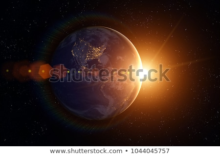 earth in space with rising sun Stock photo © almir1968