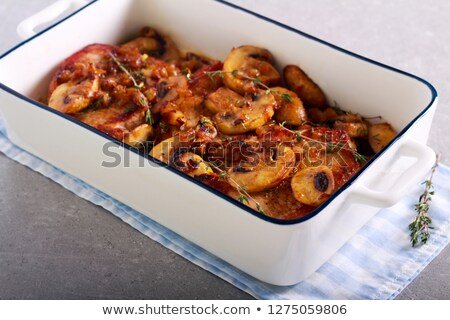 Baked pork chops with mushroom gravy. Stock photo © rojoimages