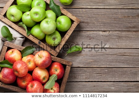 Apple fruits garden harvest in wooden box Stock photo © LoopAll
