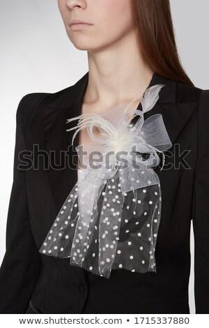 Dame zwarte top sluier modieus make Stockfoto © jrstock