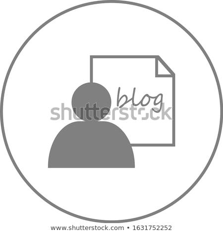 Man and sheet with word blog line icon. stock photo © RAStudio