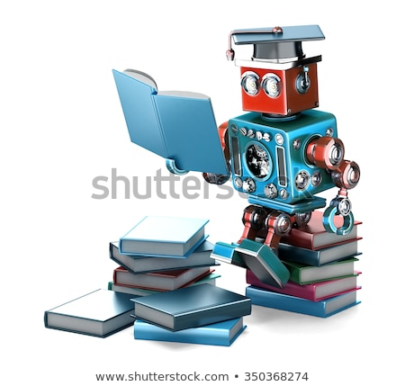 vintage robot with books isolated contains clipping path stock photo © kirill_m