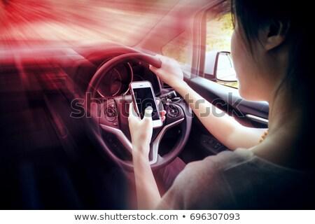 rijden · auto · telefoon · lege · scherm · exemplaar · ruimte - stockfoto © kzenon