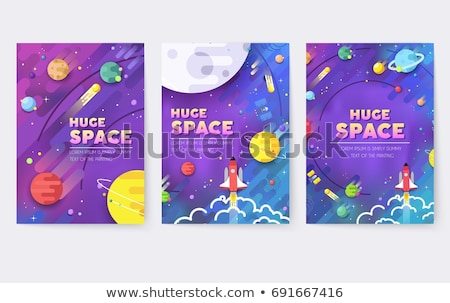 Colorful Space And Astronomy Flat Banners Set Stock photo © Genestro