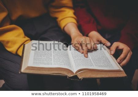 hombre · Biblia · Foto · blanco · cruz - foto stock © lincolnrogers