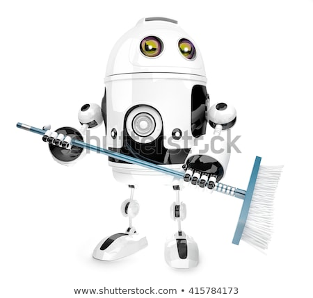 robot cleaner with a broom 3d illustration isolated contains clipping path stock photo © kirill_m