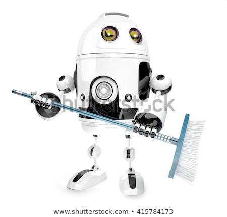 робота чистого метлой 3d иллюстрации изолированный Сток-фото © Kirill_M