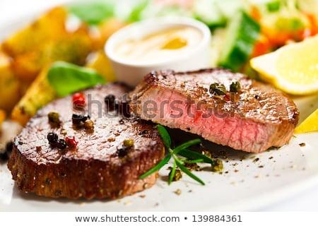 Cerdo lomo filete patatas vinagre balsámico Foto stock © Digifoodstock