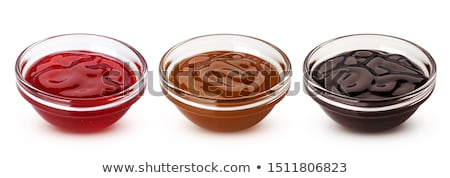 Fresh black and red berries decorate dessert bowl Stock photo © ozgur