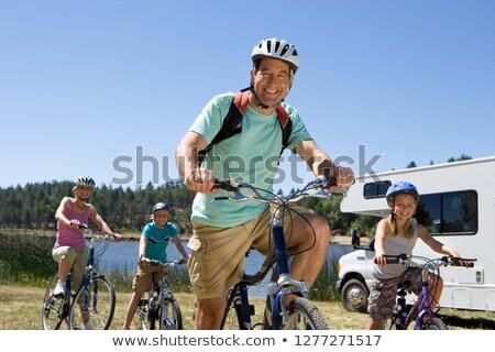 Gyerekek lovaglás lakókocsi furgon illusztráció lány Stock fotó © bluering