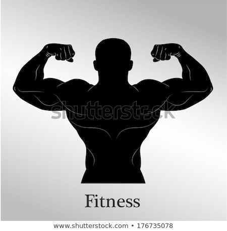 Bodybuilder muscular guy silhouettes  Stock photo © comicvector703
