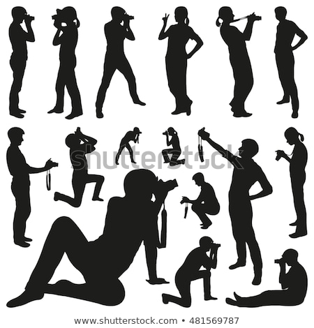 People, male, female silhouettes in shooting selfie pictures poses Stock photo © Decorwithme