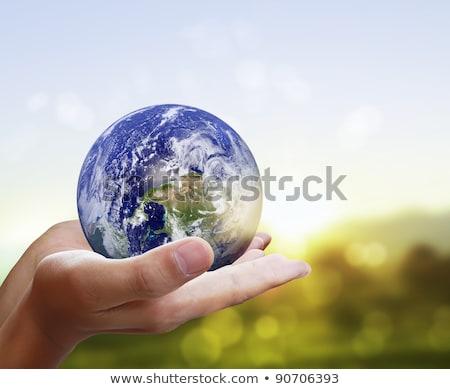 Сток-фото: рук · земле · сердце · белый · экология