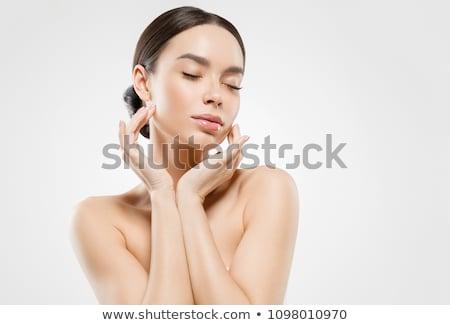 Bastante asiático modelo brilhante make-up tocante Foto stock © deandrobot