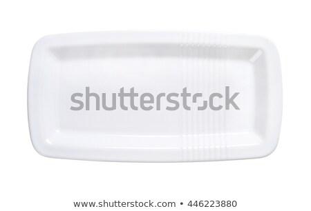 Hosszú porcelán adag ovális tányér tiszta Stock fotó © Digifoodstock
