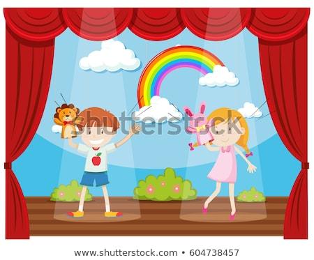 мальчика девушки марионеточного шоу этап иллюстрация Сток-фото © bluering