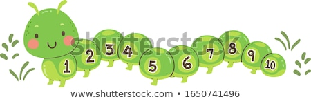 Counting number with green caterpillar Stock photo © bluering