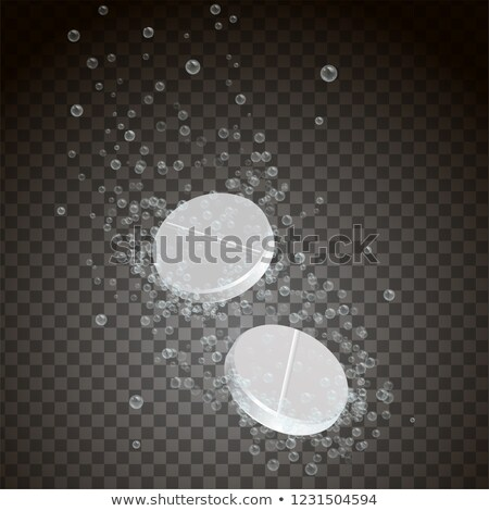 Foto stock: Vidro · efervescente · comprimido · água · amarelo · isolado