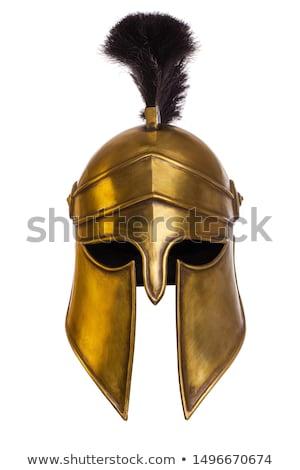 Spartaans krijger helm logo ingesteld Grieks Stockfoto © Andrei_