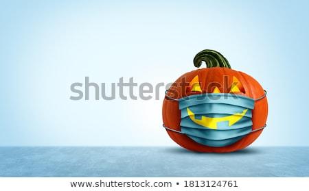 halloween · lanterna · abóbora · escuro · céu · nuvens - foto stock © psychoshadow