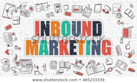 inbound marketing concept multicolor on white brickwall stock photo © tashatuvango