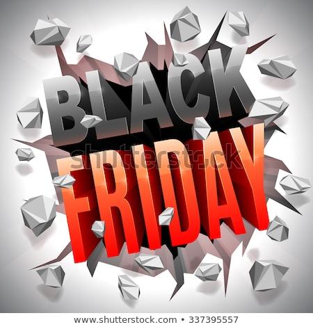 Black Friday Sale Sign Breaking Through Wall Stock photo © Krisdog