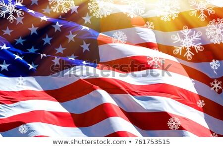Bandeira EUA raios de sol flocos de neve sol projeto Foto stock © Nobilior