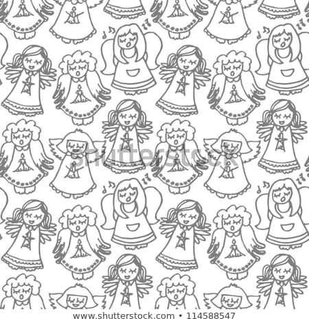 christmas seamless pattern with children singing carols stock photo © imaagio