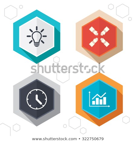 Сток-фото: Clock And Time Hexagonal Icons Set On Abstract Orange Background