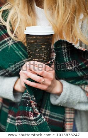 девушки Кубок рук синий кружка Сток-фото © Traimak
