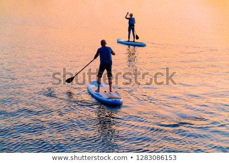 Férfi nő modell csónak tó természet Stock fotó © IS2