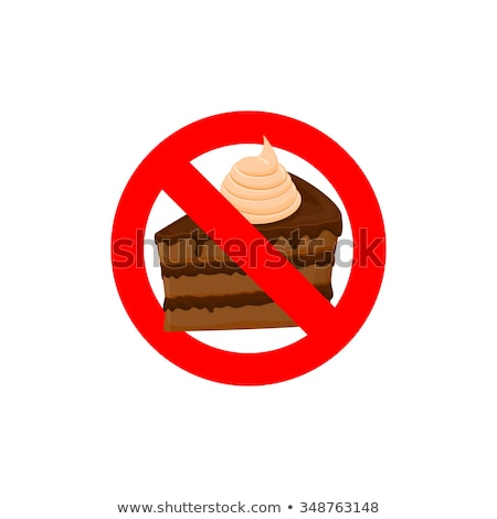 Stop sweets. Forbidden cake. Red forbidding character. Logo for  Stock photo © popaukropa