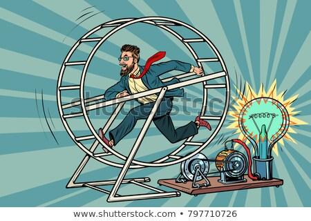 бизнесмен белку колесо Поп-арт ретро Сток-фото © studiostoks