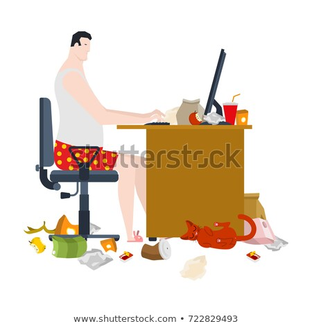 Freelancer and dirty work table. filthy workplace. Remote work a Stock photo © MaryValery