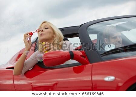 Pár elektromos autó buborékfújás autó férfi jókedv Stock fotó © IS2