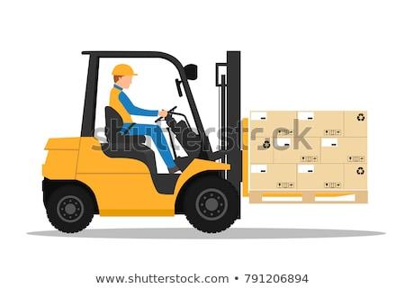 黄色 フォークリフト トラック ベクトル デザイン 実例 ストックフォト © RAStudio