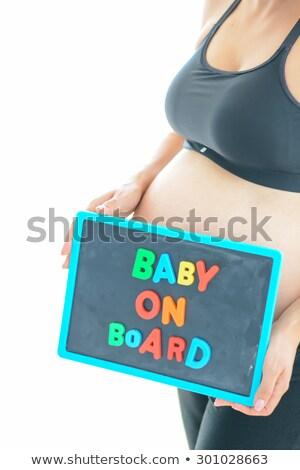 Stock fotó: Terhes · nő · tart · kockák · helyesírás · baba · boldog