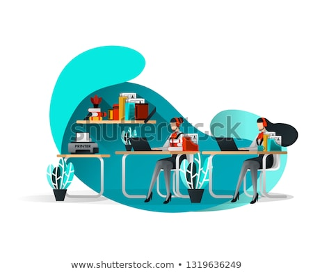support and information desk isometric flyers stock photo © studioworkstock