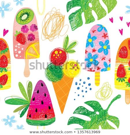 Ice cream colorful seamless pattern. Vector illustration. Stock photo © gladiolus