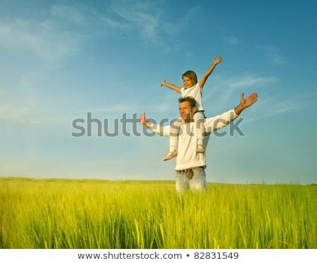 Apa lánygyermek háton lány férfi jókedv Stock fotó © IS2