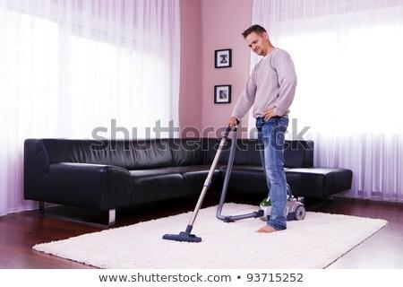 Portret man stofzuiger schoonmaken mannelijke permanente Stockfoto © IS2