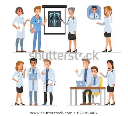 Stock fotó: Orvos · bemutat · okostelefon · nő · kommunikáció · női