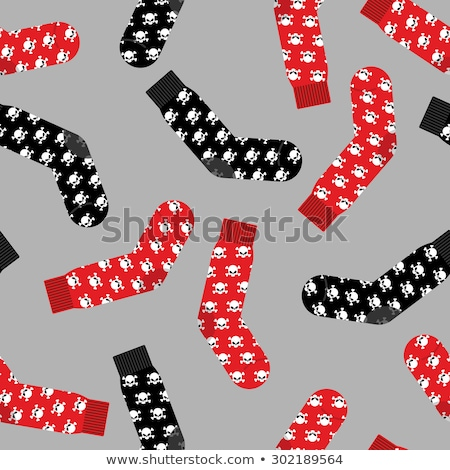 Black and Red socks with skull. Vector illustration accessories  Stock photo © popaukropa