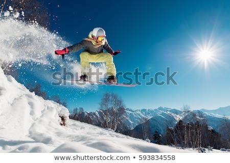 Meisje snowboard winter illustratie vrouw sport Stockfoto © adrenalina