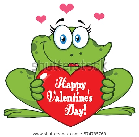 Frog Female Cartoon Mascot Character Holding A Valentine Love Heart With Text Happy Valentines Day Stock photo © hittoon