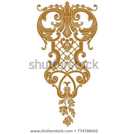Floral Filigree Pattern Scroll Heraldry Design Set Stock photo © Krisdog
