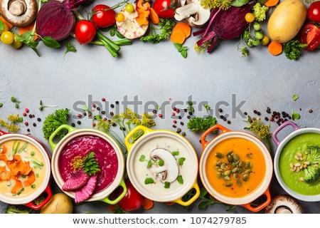 patates · mantar · sarımsak · çorba · otlar · içinde - stok fotoğraf © Peteer